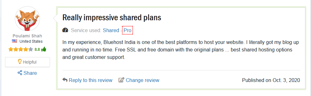 customers reviews bluehost